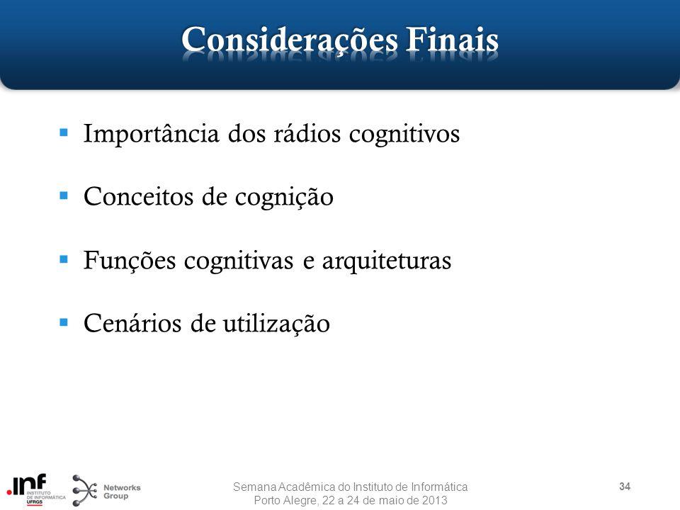 Importância dos rádios cognitivos  Conceitos de cognição  Funções cognitivas e arquiteturas  Cenários de utilização 34 Semana Acadêmica do Instituto de Informática Porto Alegre, 22 a 24 de maio de 2013