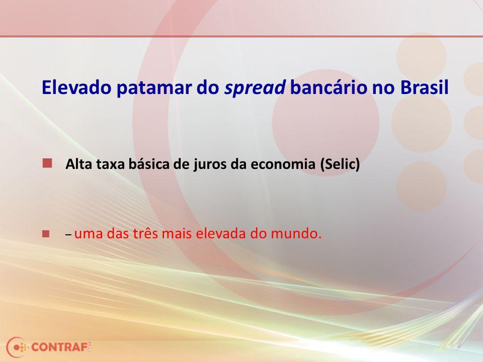 Elevado patamar do spread bancário no Brasil Alta taxa básica de juros da economia (Selic) – uma das três mais elevada do mundo.