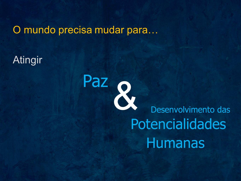 O mundo precisa mudar para… Atingir Paz & Desenvolvimento das Potencialidades Humanas
