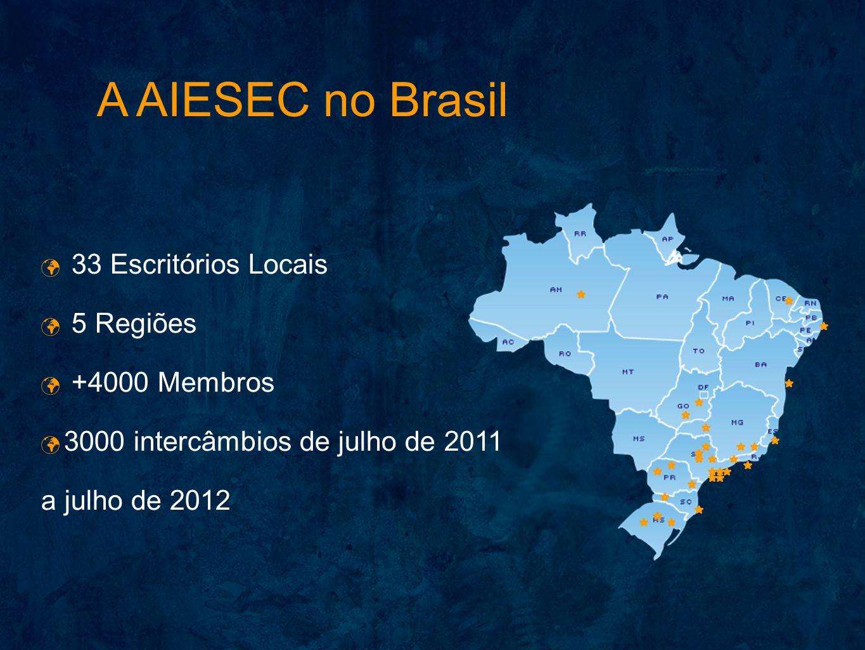 33 Escritórios Locais 5 Regiões +4000 Membros 3000 intercâmbios de julho de 2011 a julho de 2012 A AIESEC no Brasil