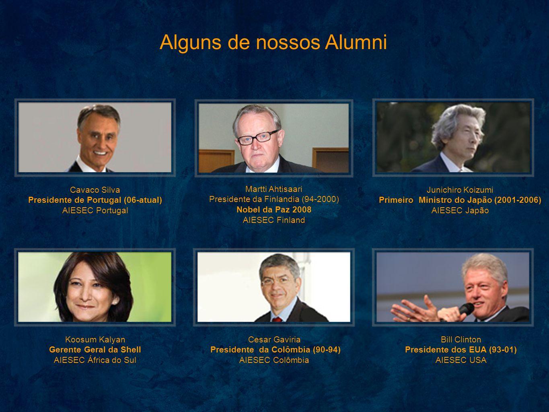 Alguns de nossos Alumni Bill Clinton Presidente dos EUA (93-01) AIESEC USA Cesar Gaviria Presidente da Colômbia (90-94) AIESEC Colômbia Martti Ahtisaa