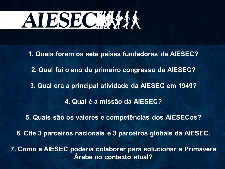 1. Quais foram os sete países fundadores da AIESEC? 2. Qual foi o ano do primeiro congresso da AIESEC? 3. Qual era a principal atividade da AIESEC em
