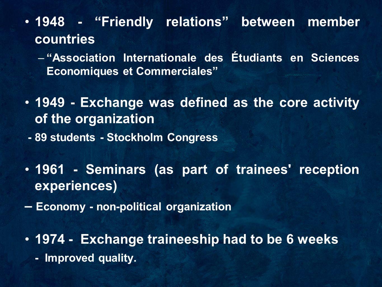 """1948 - """"Friendly relations"""" between member countries –""""Association Internationale des Étudiants en Sciences Economiques et Commerciales"""" 1949 - Exchan"""