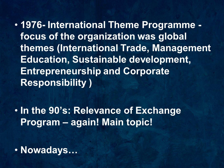 1976- International Theme Programme - focus of the organization was global themes (International Trade, Management Education, Sustainable development,
