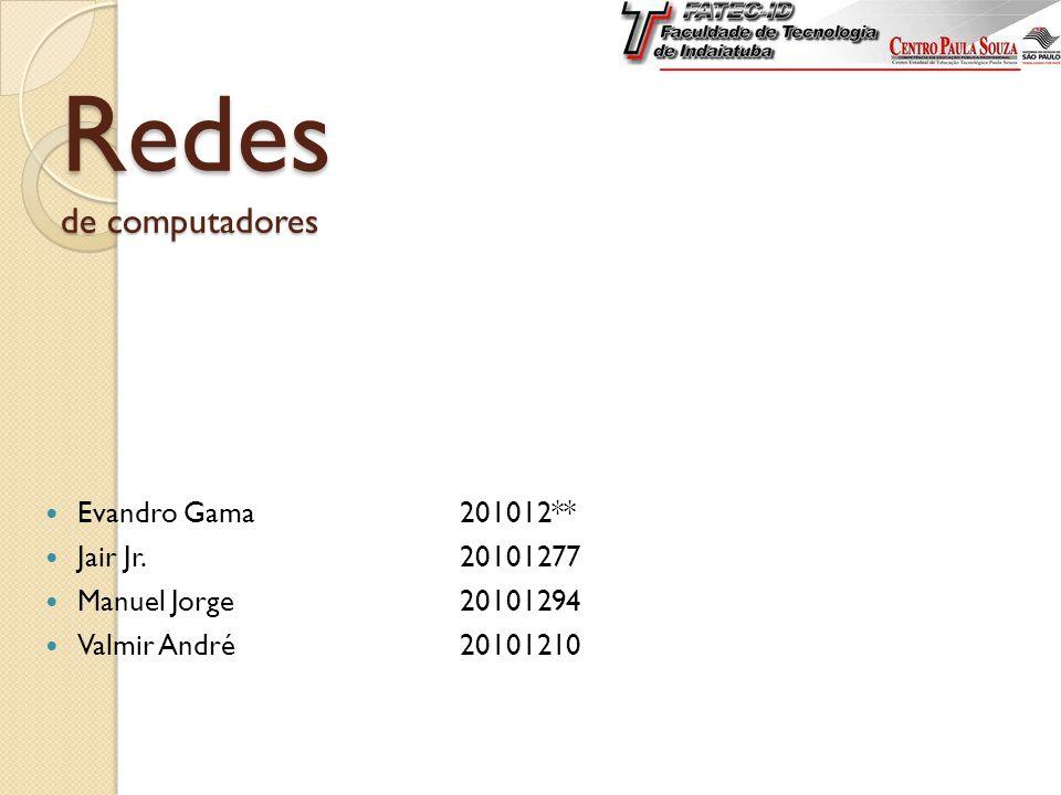 Redes de computadores Evandro Gama201012** Jair Jr.20101277 Manuel Jorge20101294 Valmir André20101210