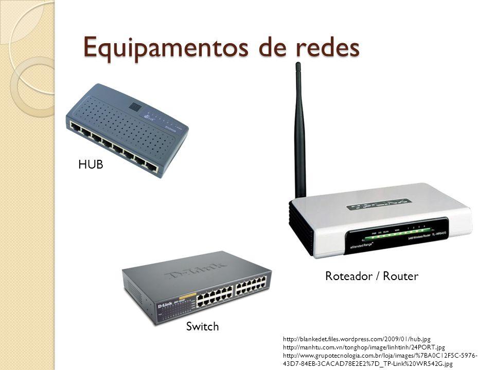 Equipamentos de redes HUB Switch Roteador / Router http://blankedet.files.wordpress.com/2009/01/hub.jpg http://manhtu.com.vn/tonghop/image/linhtinh/24PORT.jpg http://www.grupotecnologia.com.br/loja/images/%7BA0C12F5C-5976- 43D7-84EB-3CACAD78E2E2%7D_TP-Link%20WR542G.jpg