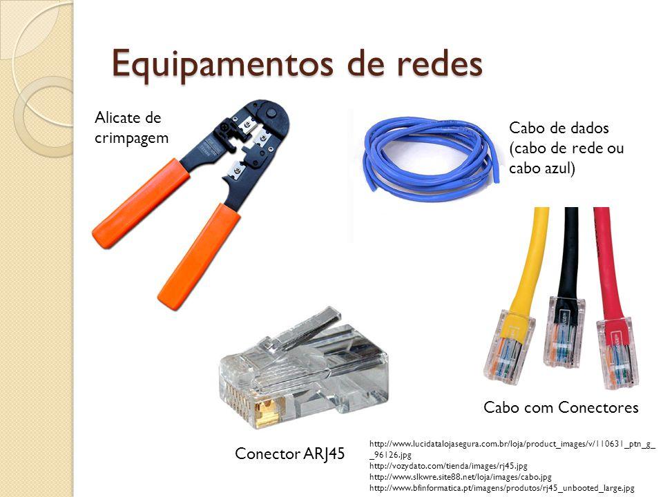 Equipamentos de redes Alicate de crimpagem Conector ARJ45 Cabo de dados (cabo de rede ou cabo azul) Cabo com Conectores http://www.lucidatalojasegura.com.br/loja/product_images/v/110631_ptn_g_ _96126.jpg http://vozydato.com/tienda/images/rj45.jpg http://www.slkwre.site88.net/loja/images/cabo.jpg http://www.bfinformatica.pt/imagens/produtos/rj45_unbooted_large.jpg