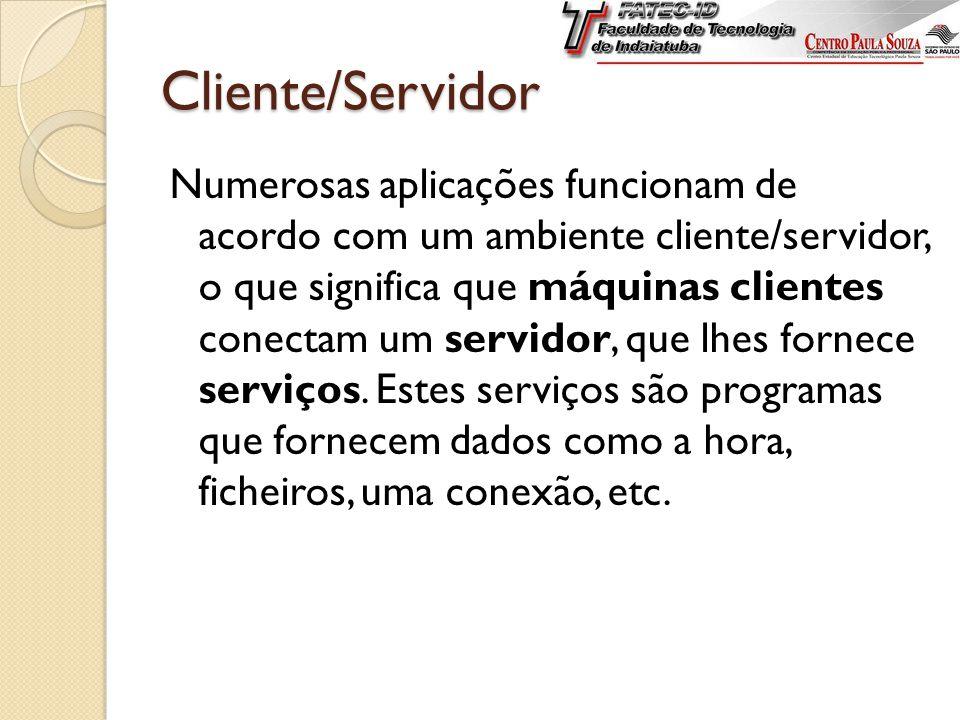 Cliente/Servidor Numerosas aplicações funcionam de acordo com um ambiente cliente/servidor, o que significa que máquinas clientes conectam um servidor, que lhes fornece serviços.