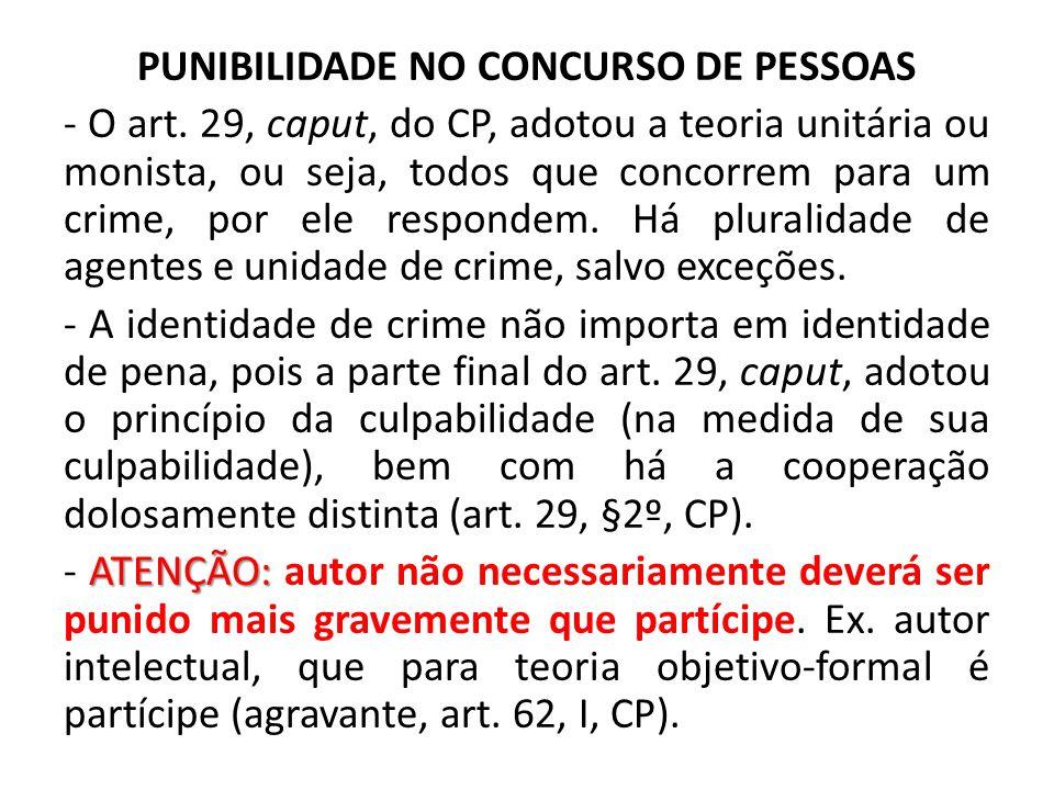 PUNIBILIDADE NO CONCURSO DE PESSOAS - O art. 29, caput, do CP, adotou a teoria unitária ou monista, ou seja, todos que concorrem para um crime, por el