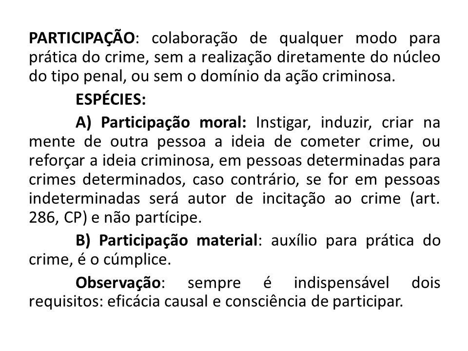 PARTICIPAÇÃO: colaboração de qualquer modo para prática do crime, sem a realização diretamente do núcleo do tipo penal, ou sem o domínio da ação crimi