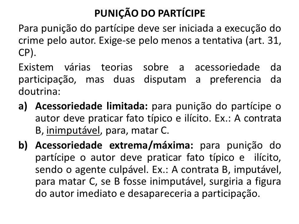 PUNIÇÃO DO PARTÍCIPE Para punição do partícipe deve ser iniciada a execução do crime pelo autor. Exige-se pelo menos a tentativa (art. 31, CP). Existe