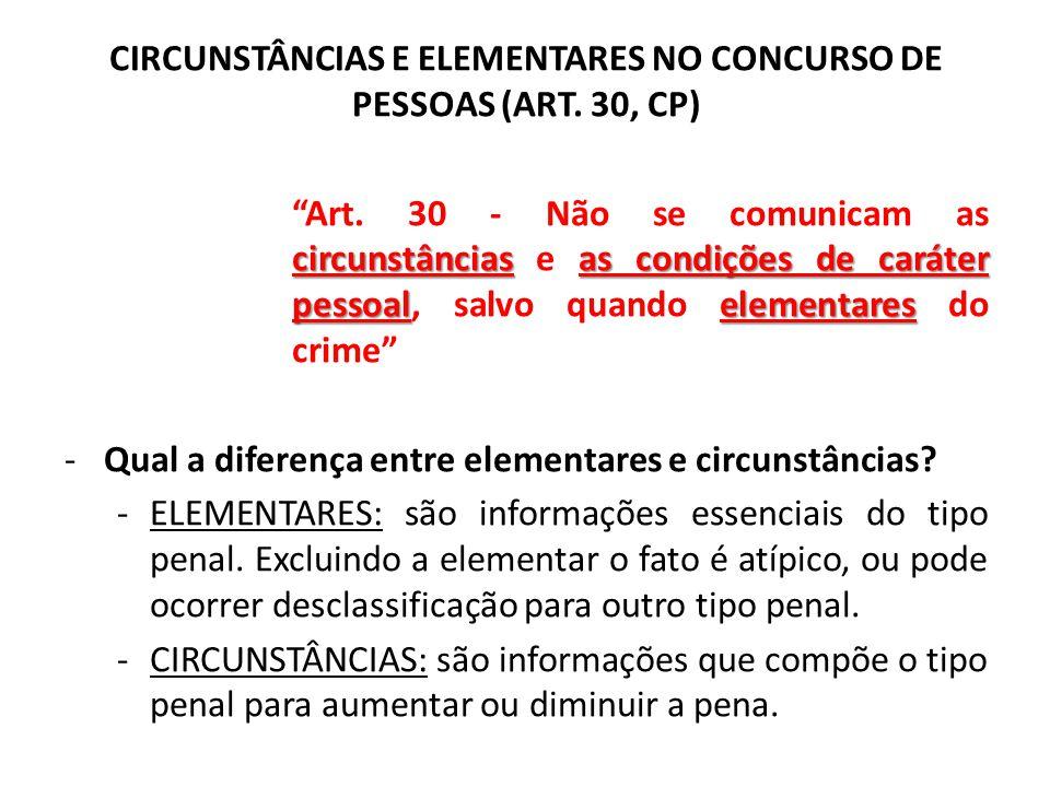 """CIRCUNSTÂNCIAS E ELEMENTARES NO CONCURSO DE PESSOAS (ART. 30, CP) circunstânciasas condições de caráter pessoalelementares """"Art. 30 - Não se comunicam"""