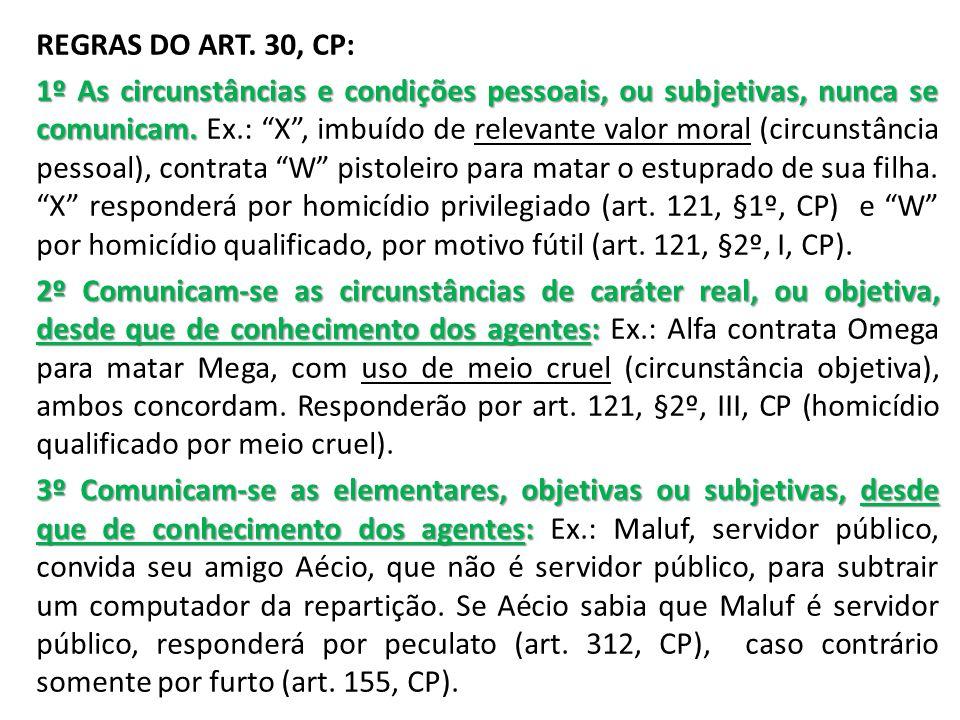 REGRAS DO ART. 30, CP: 1º As circunstâncias e condições pessoais, ou subjetivas, nunca se comunicam. 1º As circunstâncias e condições pessoais, ou sub