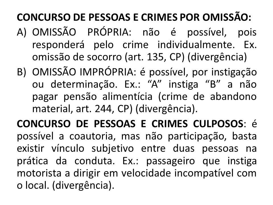 CONCURSO DE PESSOAS E CRIMES POR OMISSÃO: A)OMISSÃO PRÓPRIA: não é possível, pois responderá pelo crime individualmente. Ex. omissão de socorro (art.