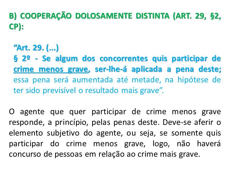 """B) COOPERAÇÃO DOLOSAMENTE DISTINTA (ART. 29, §2, CP): """"Art. 29. (...) § 2º - Se algum dos concorrentes quis participar de crime menos grave, ser-lhe-á"""