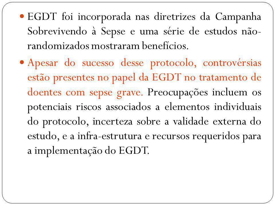EGDT foi incorporada nas diretrizes da Campanha Sobrevivendo à Sepse e uma série de estudos não- randomizados mostraram benefícios. Apesar do sucesso