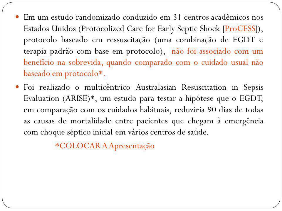 O volume de fluidos administrados durante as primeiras 6 horas foi maior no grupo EGDT do que no grupo de cuidados habituais (1964 ± 1415 ml vs 1713 ± 1401 ml, P <0,001) Mais pacientes no grupo EGDT do que no de cuidados habituais grupo receberam vasopressores (66,6% vs 57,8%), transfusão de hemácias (13,6% versus 7,0%), ou dobutamina (15,4% versus 2,6%) (P <0,001 para todas as comparações) Entre 6 e 72 horas, a proporção de pacientes que receberam vasopressores foi maior no grupo EGDT do que no grupo de cuidados habituais (58,8% versus 51,5%, P = 0,004), como foi a proporção dos doentes que receberam dobutamina (9,5% versus 5,0%, P <0,001).