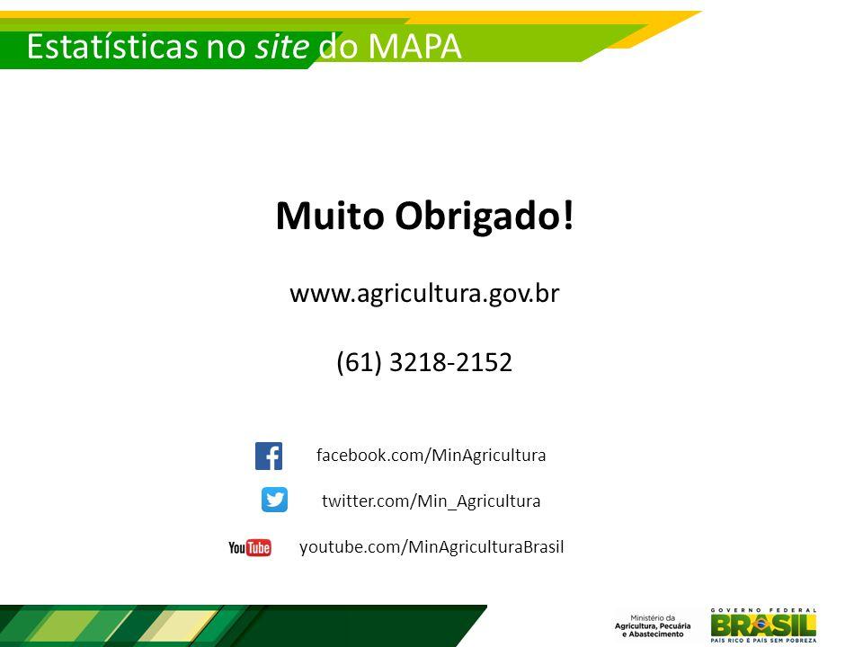 Estatísticas no site do MAPA Muito Obrigado.