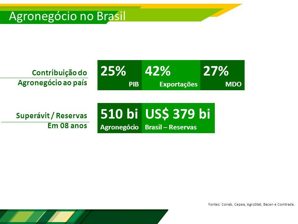 Agronegócio no Brasil Contribuição do Agronegócio ao país 25% PIB 42% Exportações Fontes: Conab, Cepea, AgroStat, Bacen e Comtrade.