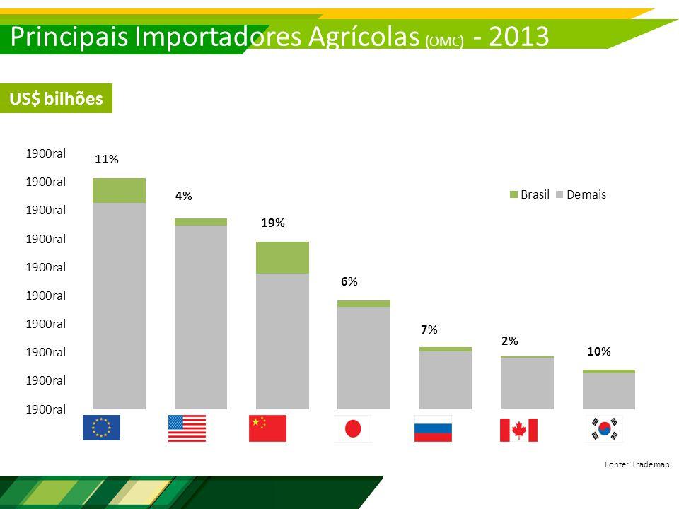 Principais Importadores Agrícolas (OMC) - 2013 Fonte: Trademap. US$ bilhões 11% 4% 19% 6% 7% 2% 10%