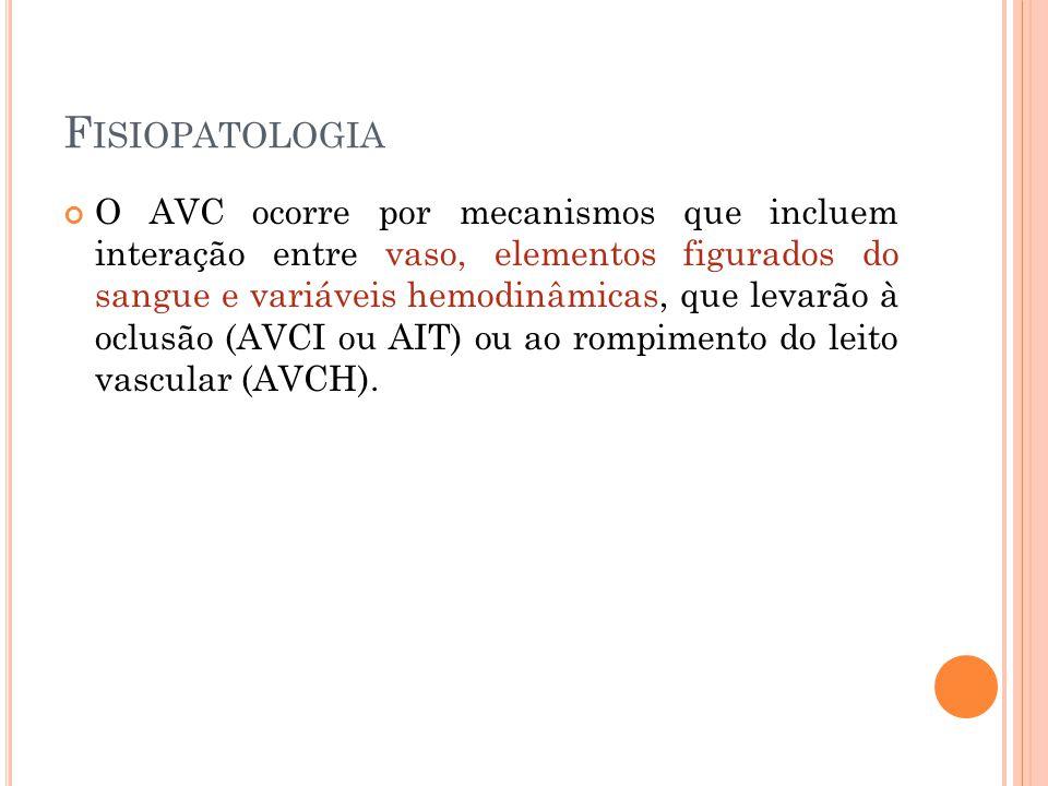 F ISIOPATOLOGIA O AVC ocorre por mecanismos que incluem interação entre vaso, elementos figurados do sangue e variáveis hemodinâmicas, que levarão à o