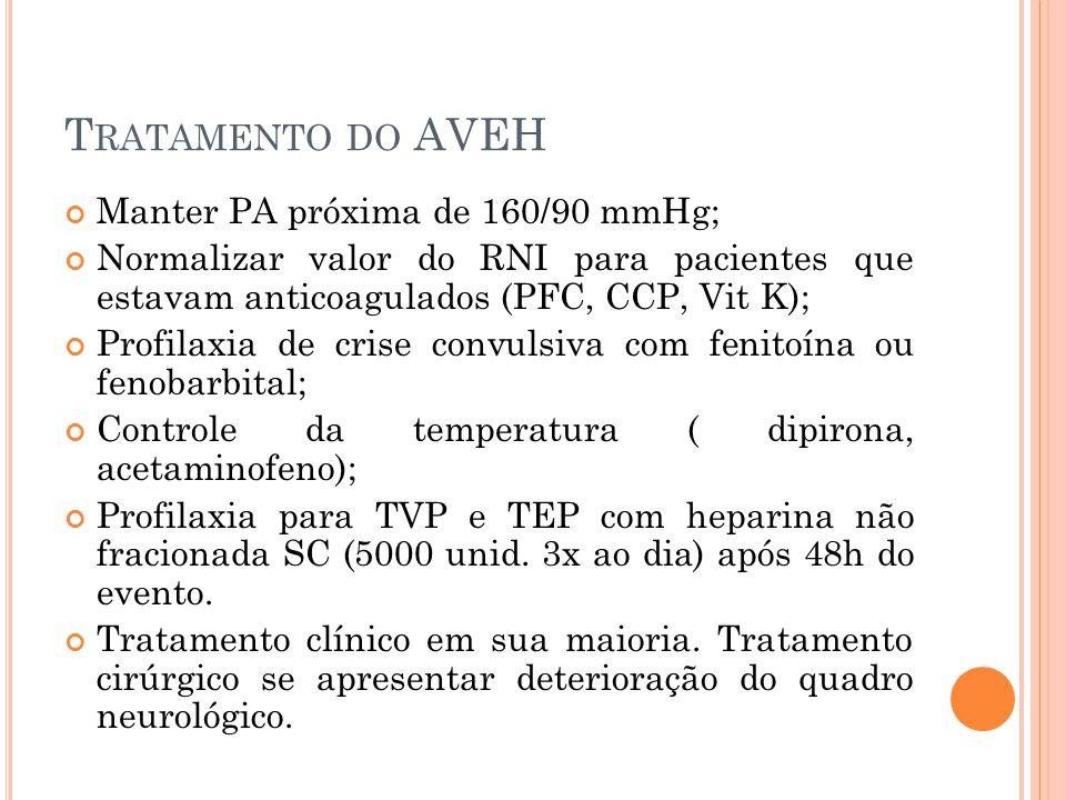 Manter PA próxima de 160/90 mmHg; Normalizar valor do RNI para pacientes que estavam anticoagulados (PFC, CCP, Vit K); Profilaxia de crise convulsiva
