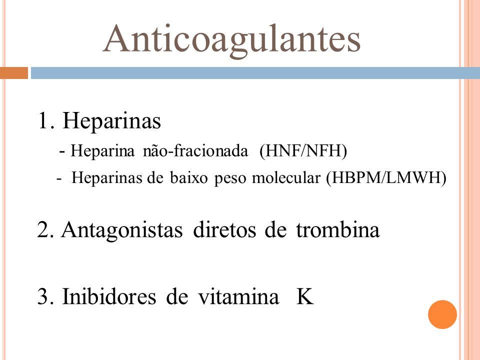 Anticoagulantes 1. Heparinas - Heparina não-fracionada (HNF/NFH) -Heparinas de baixo peso molecular (HBPM/LMWH) 2. Antagonistas diretos de trombina 3.