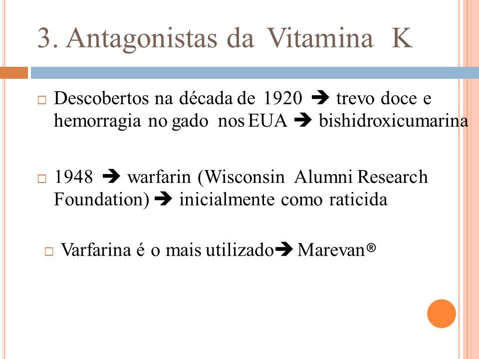 3. Antagonistas da Vitamina K  Descobertos na década de 1920  trevo doce e hemorragia no gado nos EUA  bishidroxicumarina  1948  warfarin (Wiscon