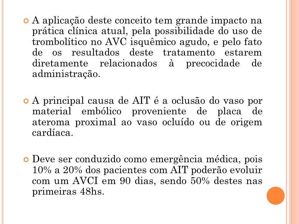 A aplicação deste conceito tem grande impacto na prática clínica atual, pela possibilidade do uso de trombolítico no AVC isquêmico agudo, e pelo fato