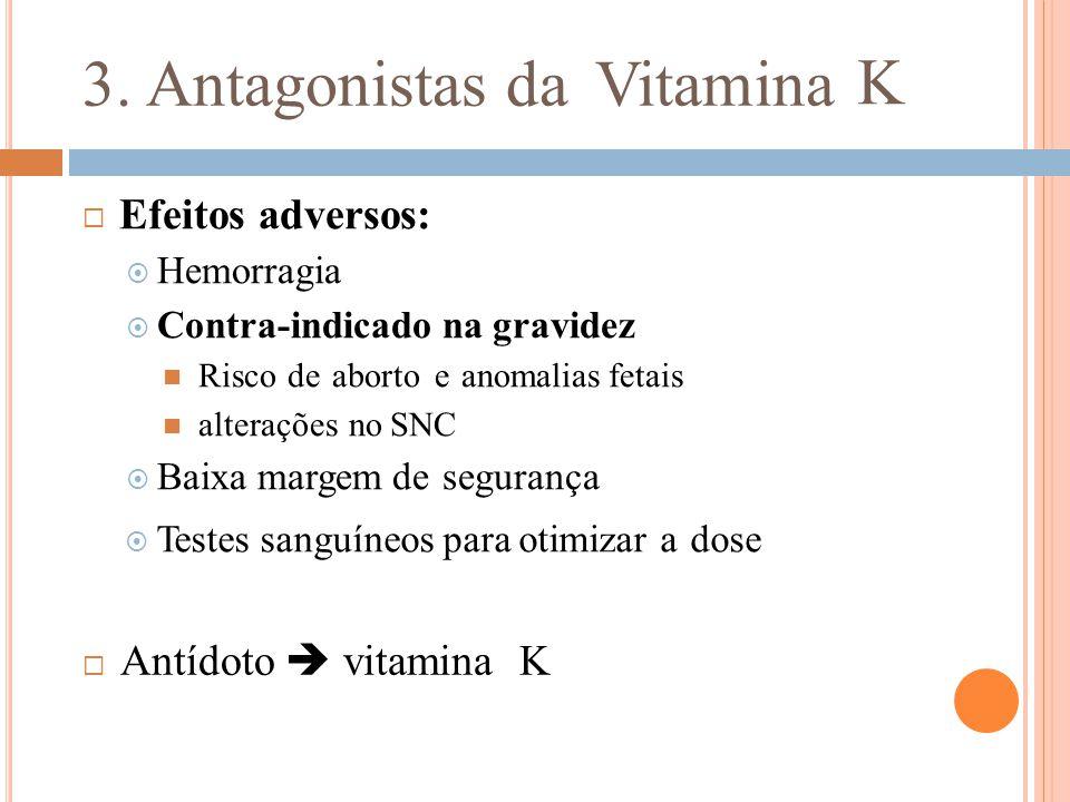 3. Antagonistas da Vitamina K  Efeitos adversos:  Hemorragia  Contra-indicado na gravidez Risco de aborto e anomalias fetais alterações no SNC  Ba