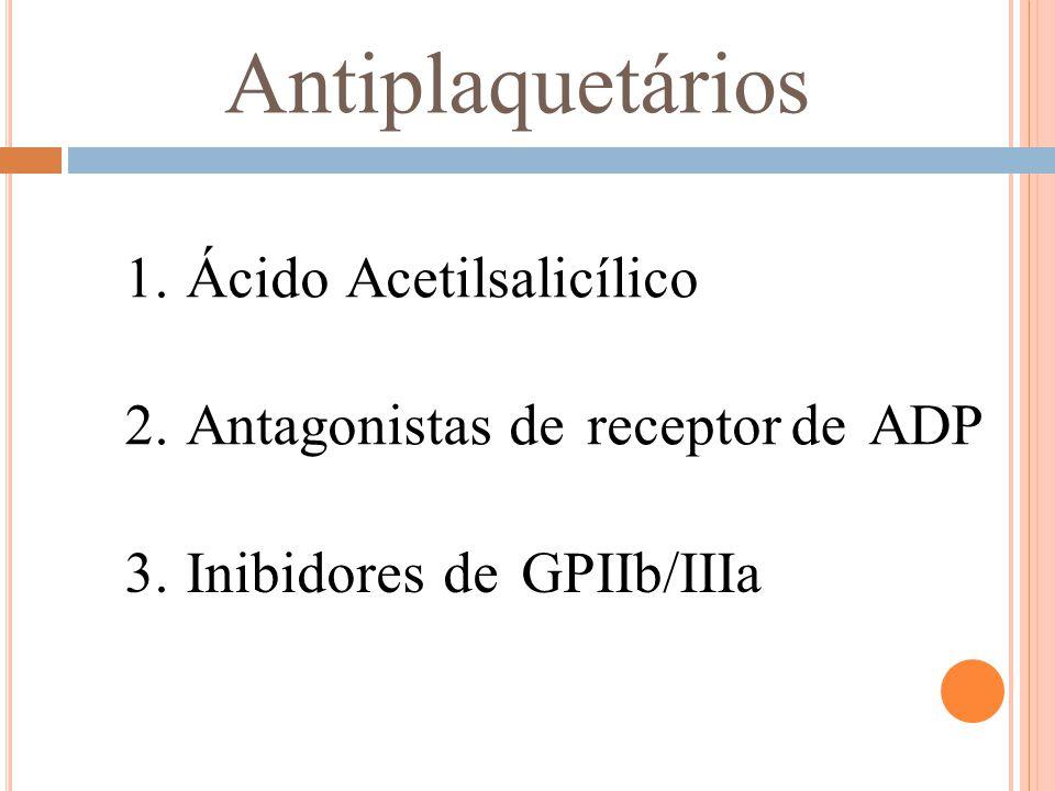 Antiplaquetários 1.Ácido Acetilsalicílico 2.Antagonistas de receptordeADP Inibidores de GPIIb/IIIa 3.