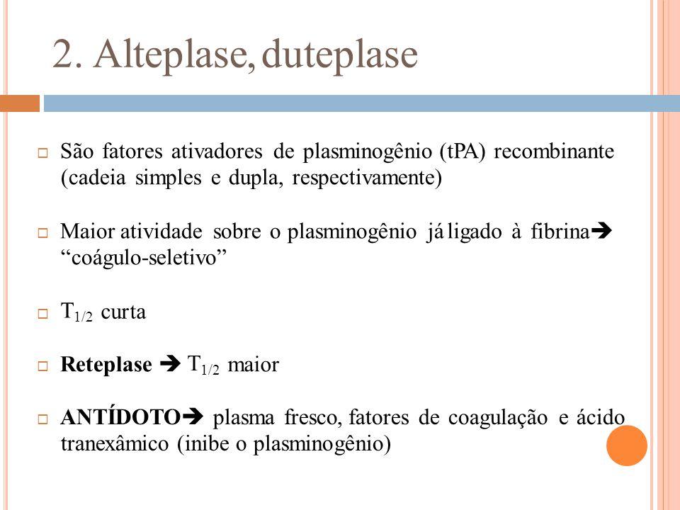 2. Alteplase,duteplase  São fatores ativadores de plasminogênio (cadeia simples e dupla, respectivamente) (tPA) recombinante fibrina   Maior ativid