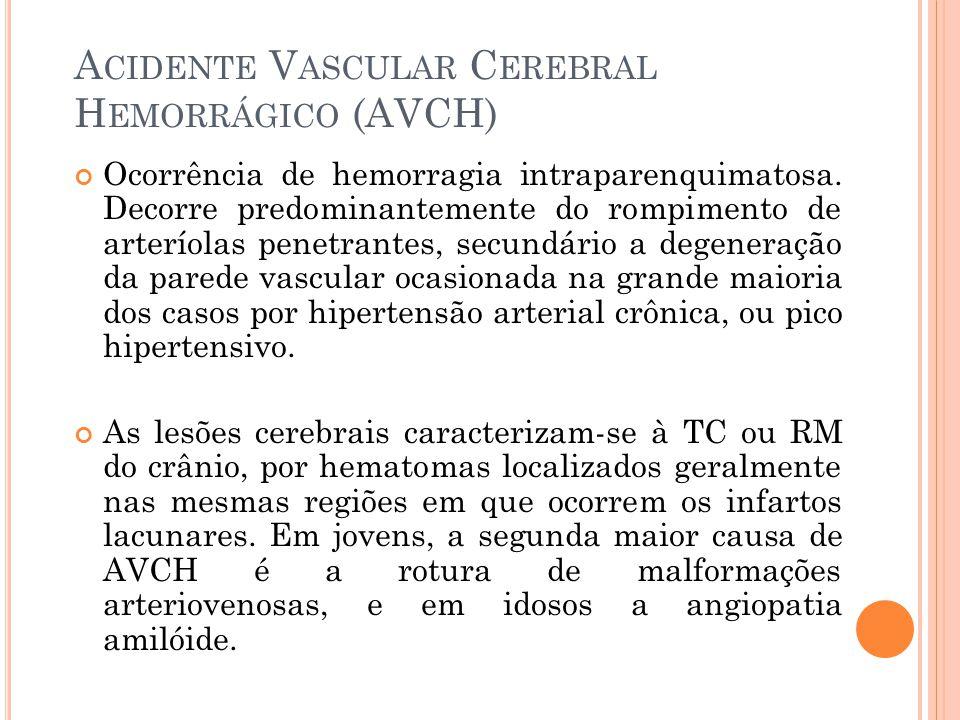 A CIDENTE V ASCULAR C EREBRAL H EMORRÁGICO (AVCH) Ocorrência de hemorragia intraparenquimatosa. Decorre predominantemente do rompimento de arteríolas