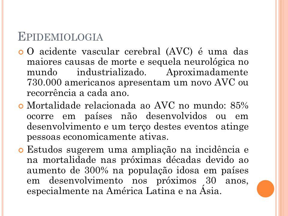 E PIDEMIOLOGIA O acidente vascular cerebral (AVC) é uma das maiores causas de morte e sequela neurológica no mundo industrializado. Aproximadamente 73
