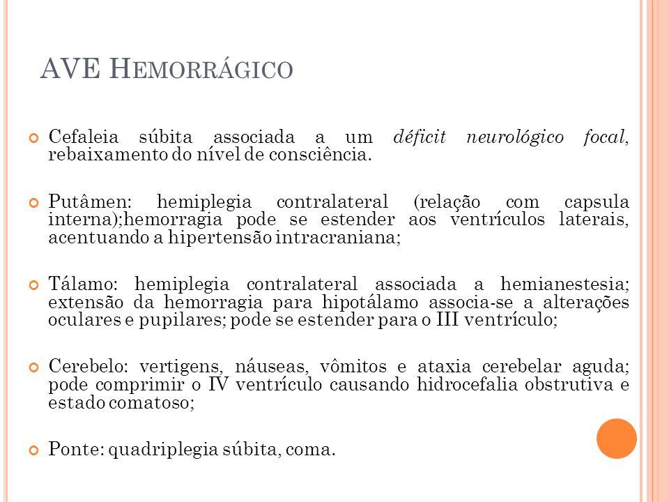AVE H EMORRÁGICO Cefaleia súbita associada a um déficit neurológico focal, rebaixamento do nível de consciência. Putâmen: hemiplegia contralateral (re