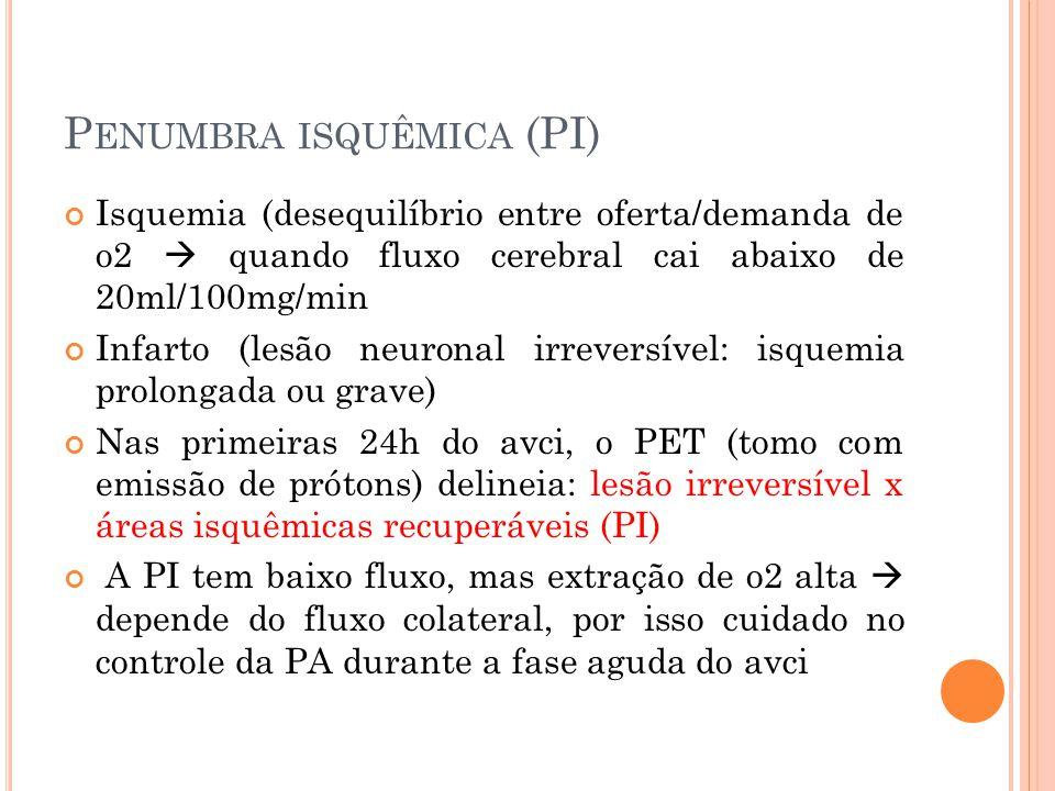 P ENUMBRA ISQUÊMICA (PI) Isquemia (desequilíbrio entre oferta/demanda de o2  quando fluxo cerebral cai abaixo de 20ml/100mg/min Infarto (lesão neuron