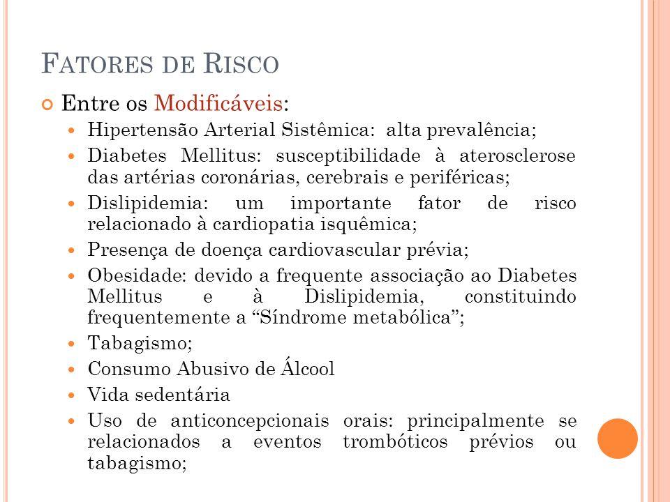 F ATORES DE R ISCO Entre os Modificáveis: Hipertensão Arterial Sistêmica: alta prevalência; Diabetes Mellitus: susceptibilidade à aterosclerose das ar