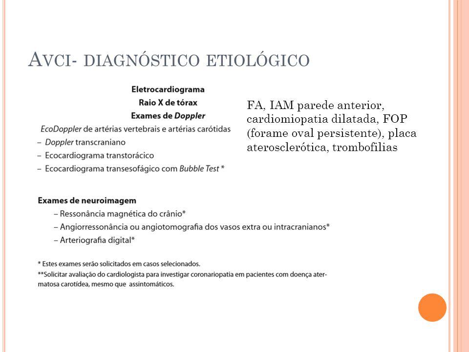 A VCI - DIAGNÓSTICO ETIOLÓGICO FA, IAM parede anterior, cardiomiopatia dilatada, FOP (forame oval persistente), placa aterosclerótica, trombofilias