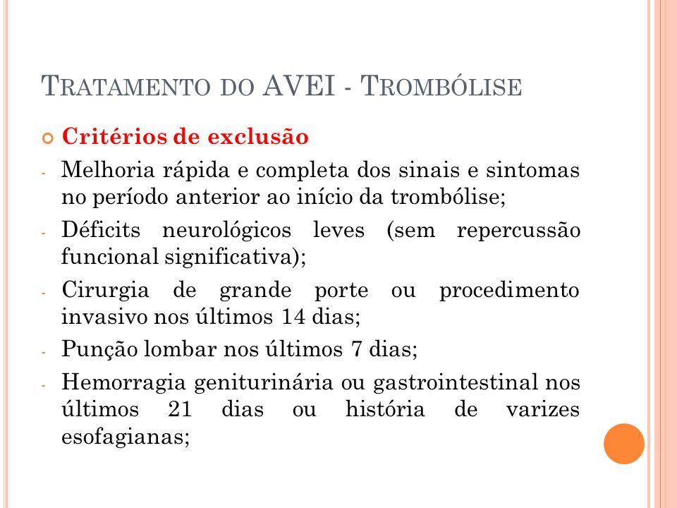 T RATAMENTO DO AVEI - T ROMBÓLISE Critérios de exclusão - Melhoria rápida e completa dos sinais e sintomas no período anterior ao início da trombólise