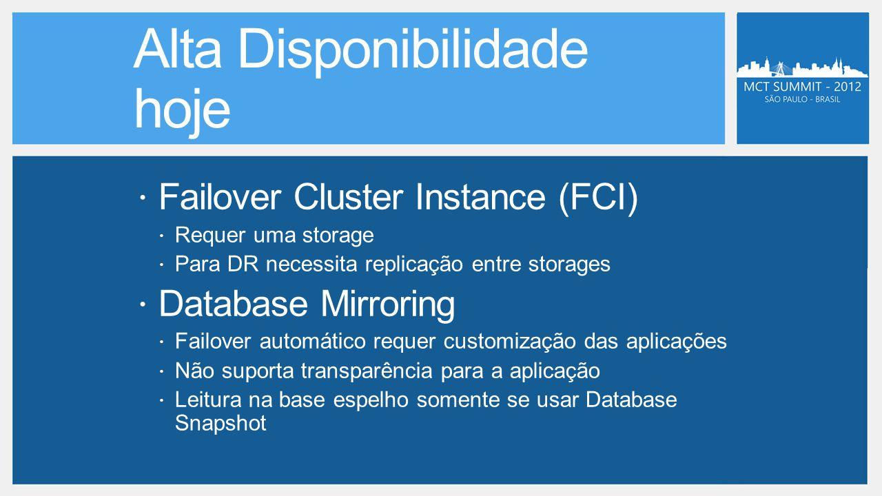  Failover Cluster Instance (FCI)  Requer uma storage  Para DR necessita replicação entre storages  Database Mirroring  Failover automático requer