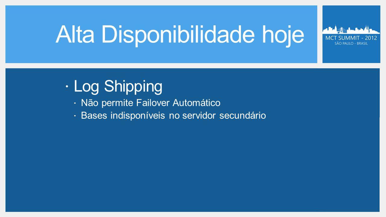  Log Shipping  Não permite Failover Automático  Bases indisponíveis no servidor secundário
