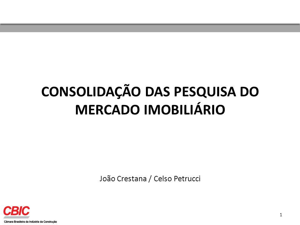 CONSOLIDAÇÃO DAS PESQUISA DO MERCADO IMOBILIÁRIO João Crestana / Celso Petrucci 1