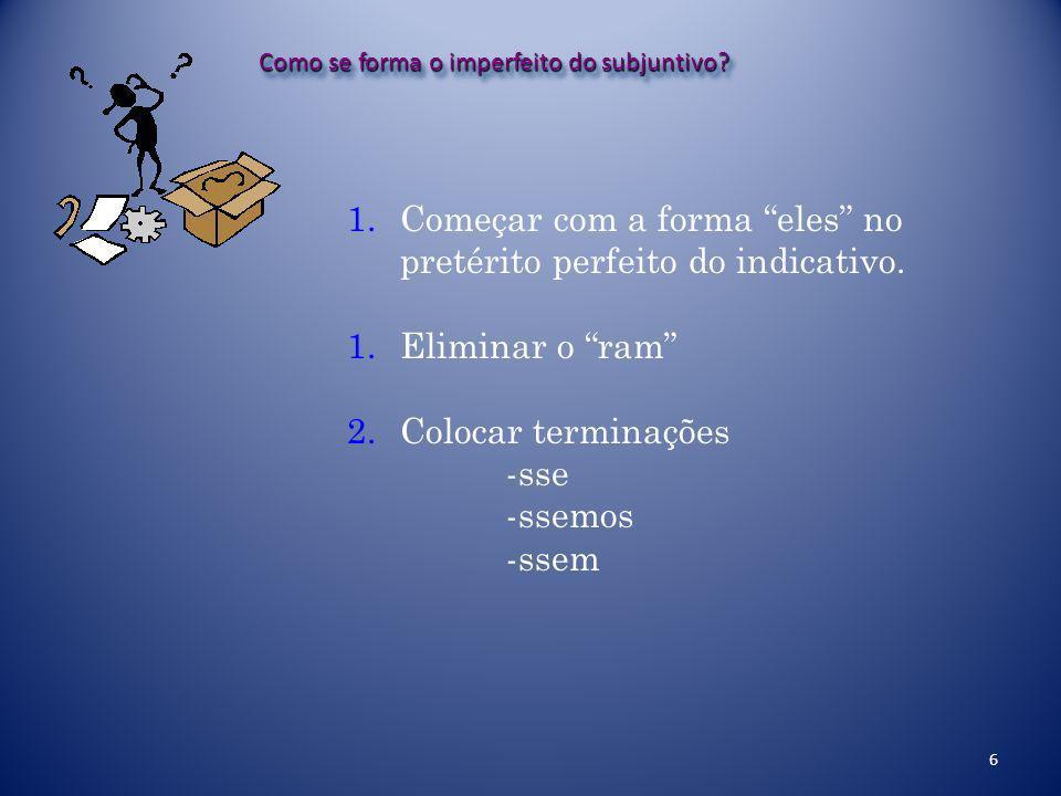 6 Como se forma o imperfeito do subjuntivo.