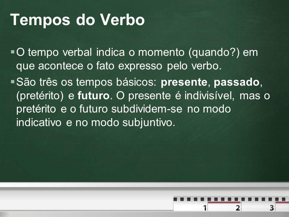 Tempos do Verbo  O tempo verbal indica o momento (quando?) em que acontece o fato expresso pelo verbo.