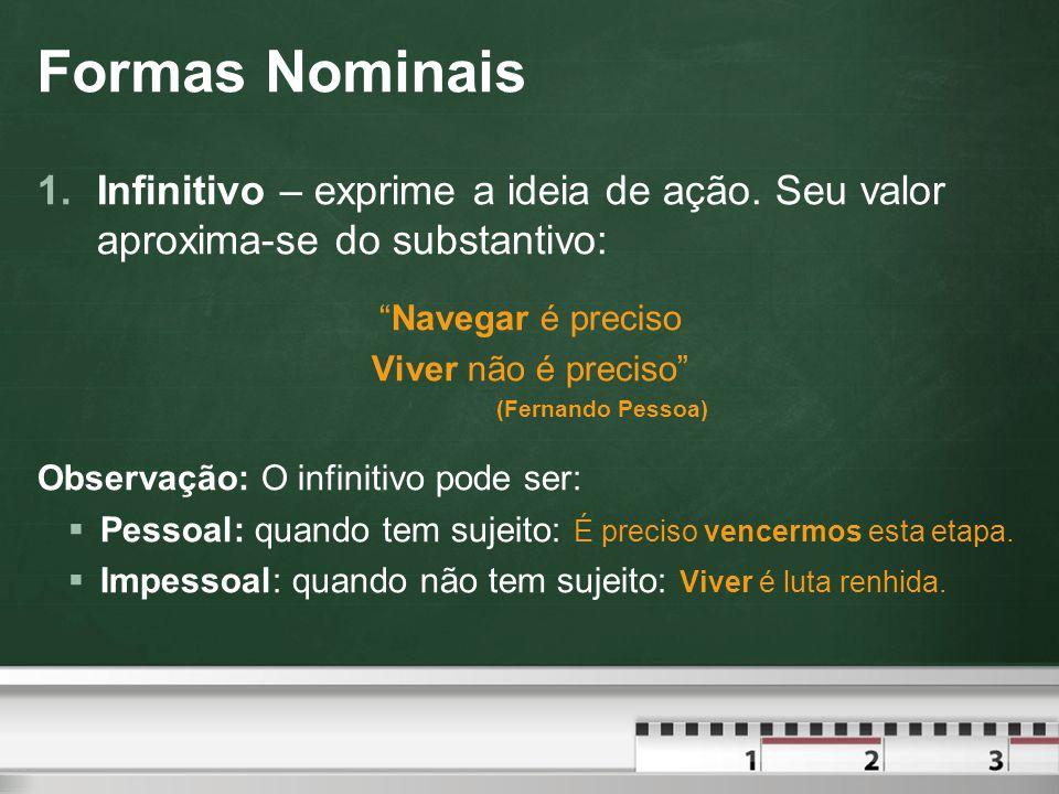 Formas Nominais 1.Infinitivo – exprime a ideia de ação.