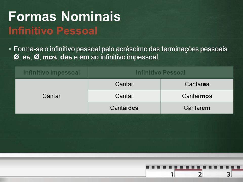 Formas Nominais Infinitivo Pessoal  Forma-se o infinitivo pessoal pelo acréscimo das terminações pessoais Ø, es, Ø, mos, des e em ao infinitivo impessoal.