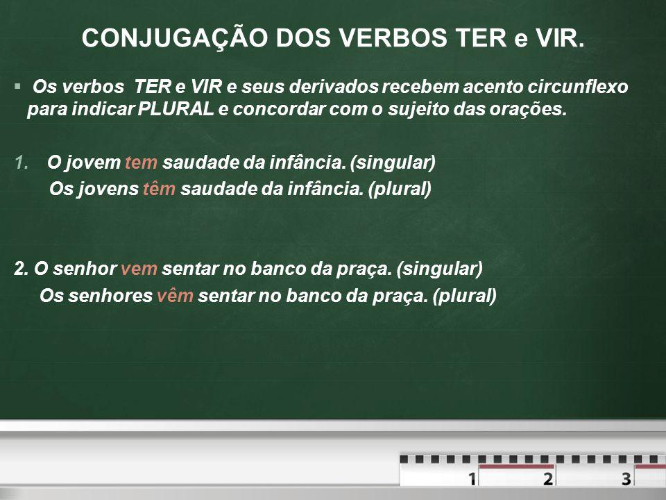 CONJUGAÇÃO DOS VERBOS TER e VIR.