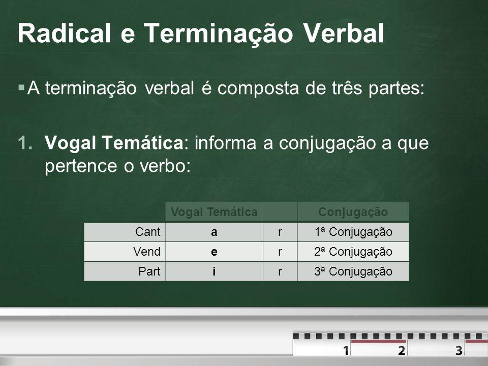 Conjugação Verbal  Ao se flexionar um verbo em tempo, modo, pessoa e número, pode ocorrer a ausência (Ø) da vogal temática, da desinência pessoal ou da desinência temporal.