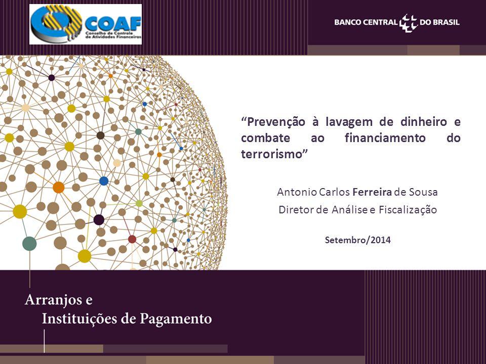Prevenção à lavagem de dinheiro e combate ao financiamento do terrorismo Antonio Carlos Ferreira de Sousa Diretor de Análise e Fiscalização Setembro/2014