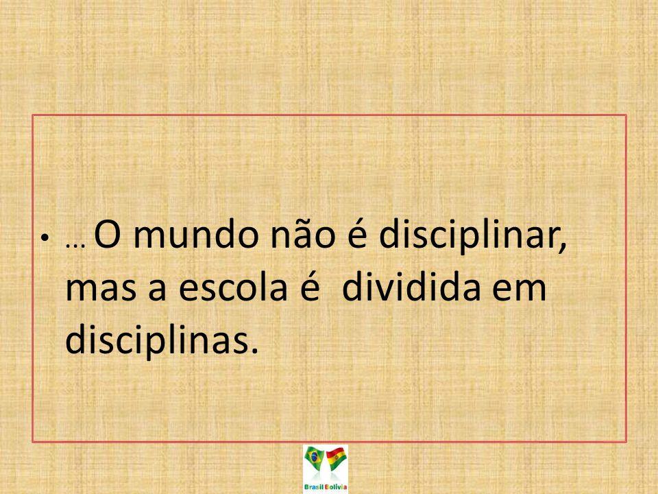 ... O mundo não é disciplinar, mas a escola é dividida em disciplinas.